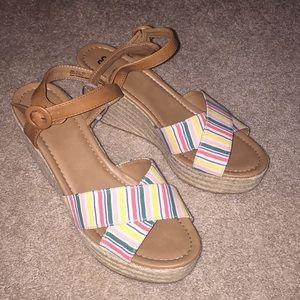 Ladies multi color high heel platform sandals.  SO